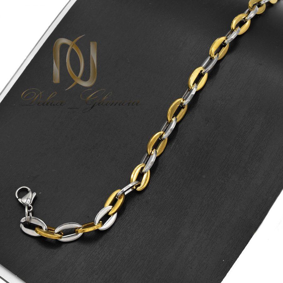 دستبند زنجیری مردانه استیل دو رنگ ds-n710