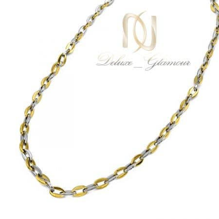 زنجیر مردانه استیل طرح طلا دو رنگ nw-n792