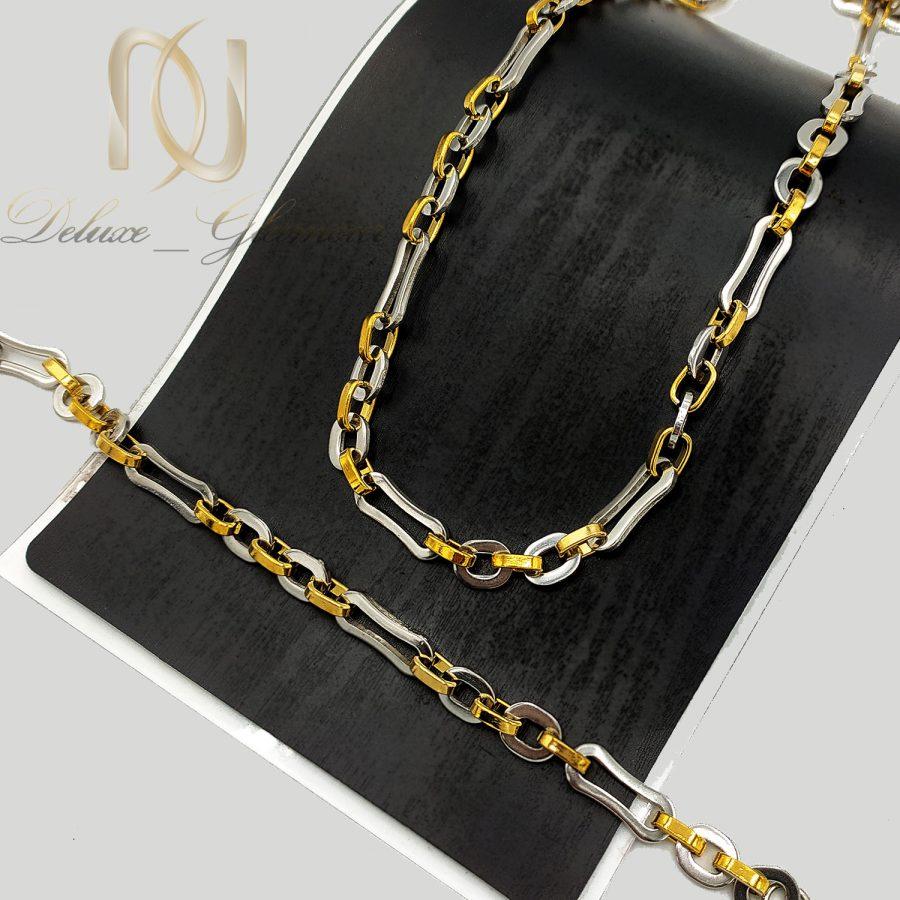 ست دستبند و گردنبند مردانه استیل ns n735 2   ست دستبند و گردنبند مردانه استیل ns-n735