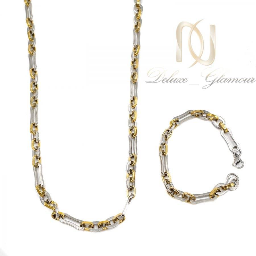 ست دستبند و گردنبند مردانه استیل ns n735   ست دستبند و گردنبند مردانه استیل ns-n735