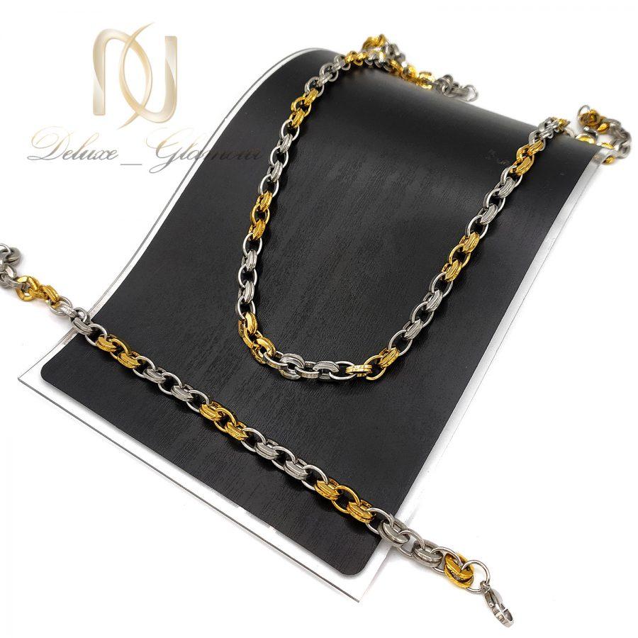 ست زنجیر و دستبند مردانه استیل ns-n730 از نمای مشکی