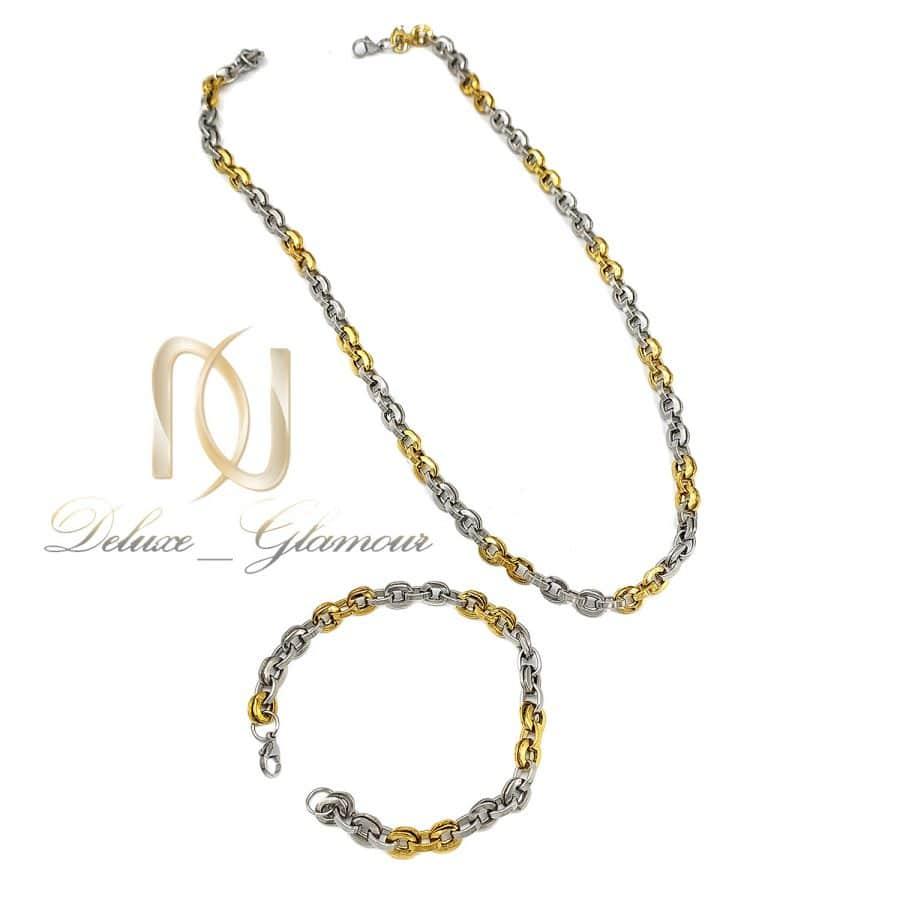 ست زنجیر و دستبند مردانه استیل ns-n730 از نمای سفید