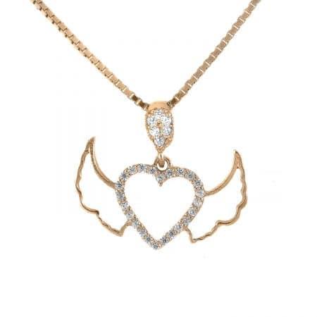 گردنبند قلب بالدار نقره دخترانه رزگلد NW-N784
