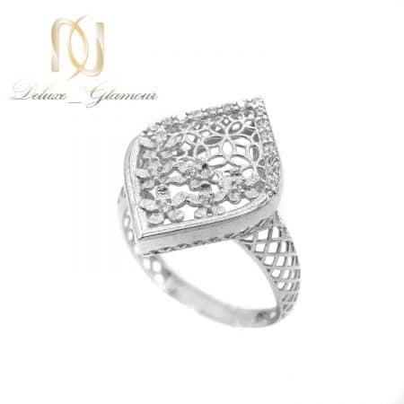 انگشتر نقره زنانه طرح طلا سفید ارزان rg-n582