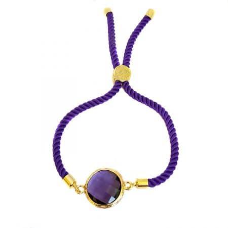دستبند دخترانه طرح سنگ آمتیست za-n463