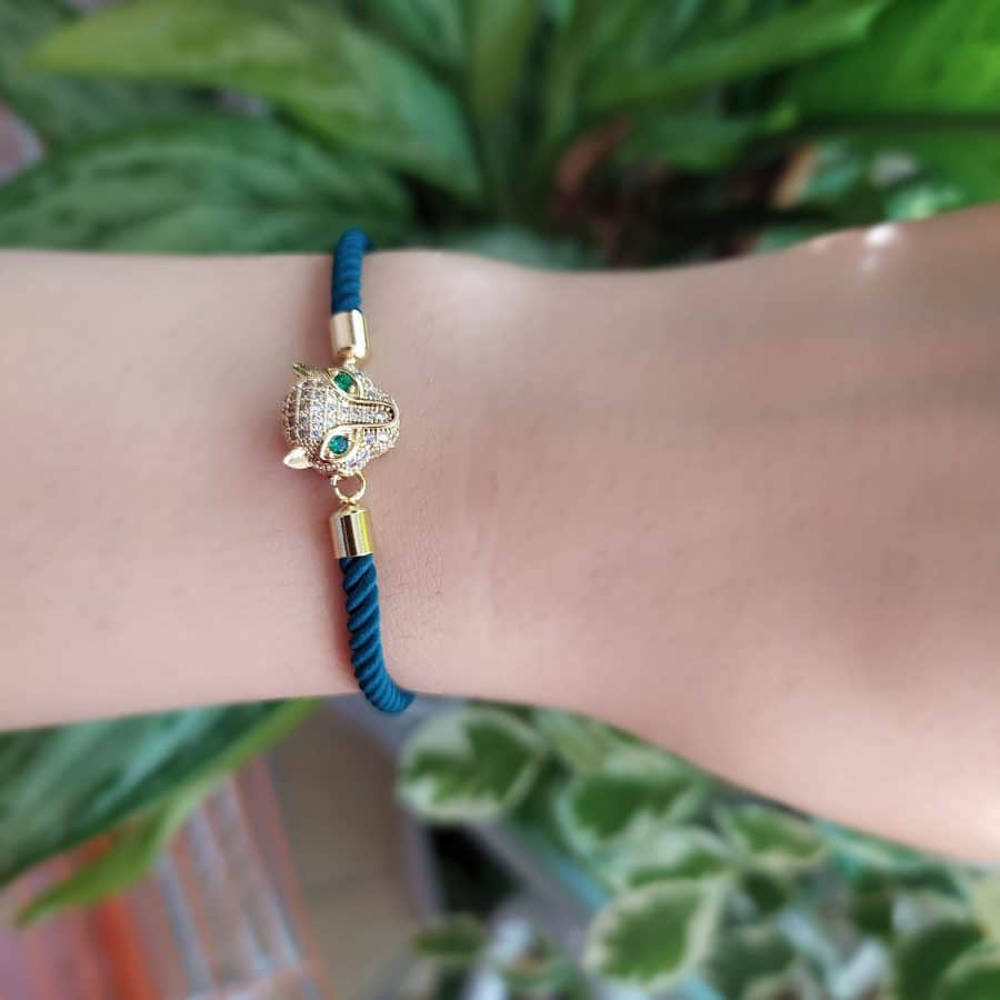 دستبند دخترانه طرح پلنگ دست ساز za-n461
