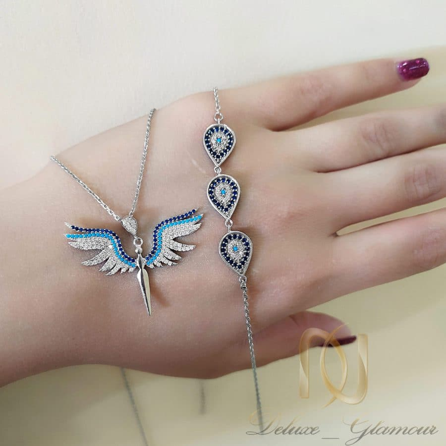 ست دستبند و گردنبند نقره دخترانه ns-n664