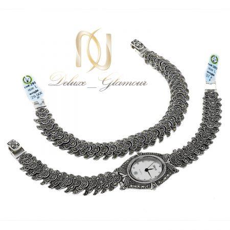 ست ساعت و دستبند نقره سیاه قلم ns-n658