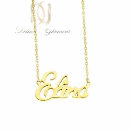 گردنبند اسم الینا استیل لاتین طلایی nw-n805