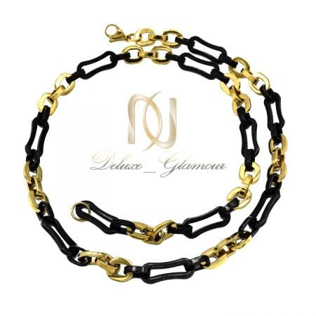 گردنبند مردانه زنجیری استیل دو رنگ nw-n811