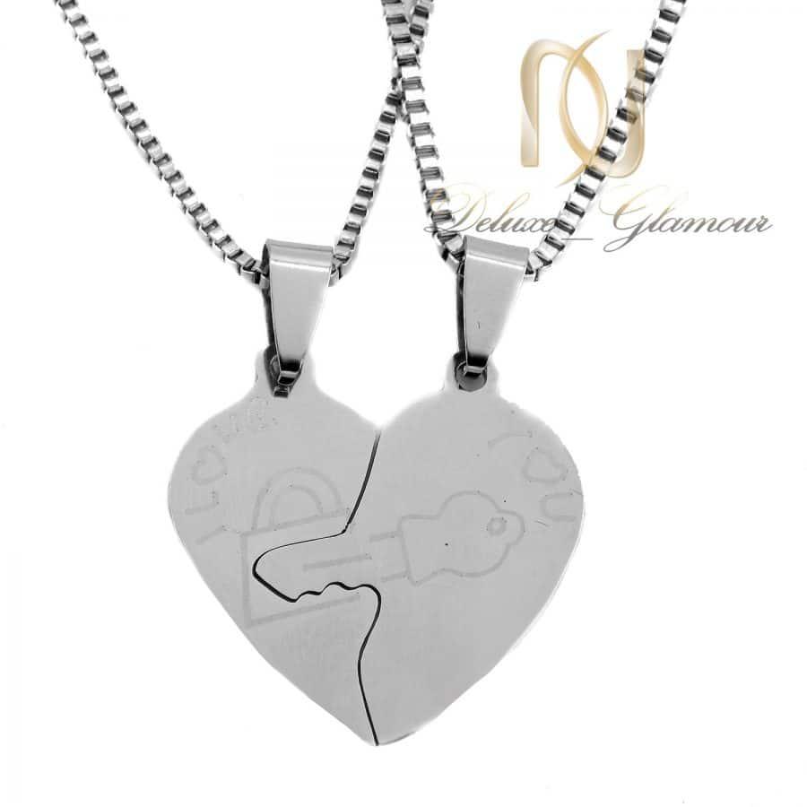 گردنبند ست طرح قلب 1 | گردنبند ست عاشقانه دو تکه استیل NW-N821