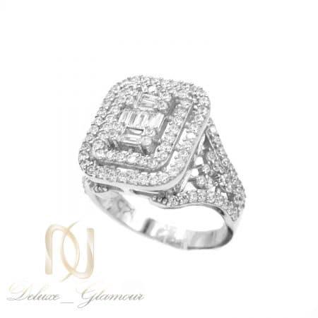 انگشتر زنانه نقره طرح طلا سفید نگین دار rg-n606