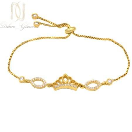 دستبند دخترانه نقره 925 طرح تاج طلایی ma-n509
