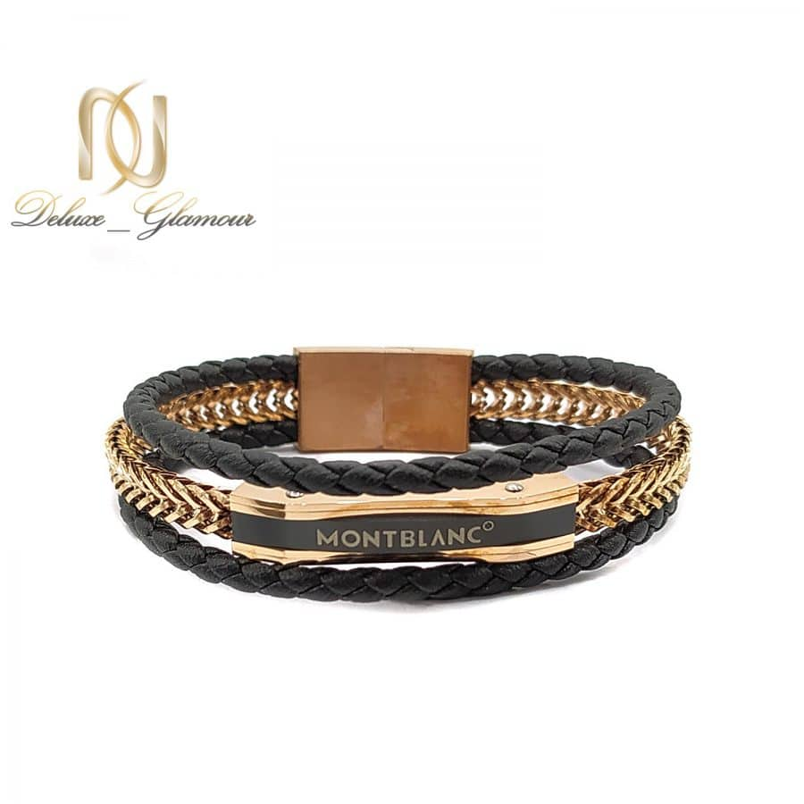 دستبند چرمی مردانه مونت بلانک طرح خاص ds-n757