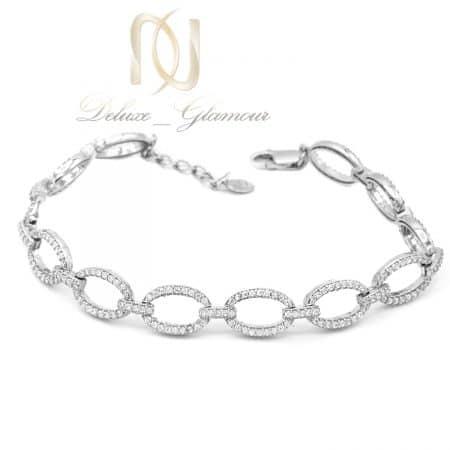 دستبند زنانه نقره طرح کارتیر نگین دار ds-n753