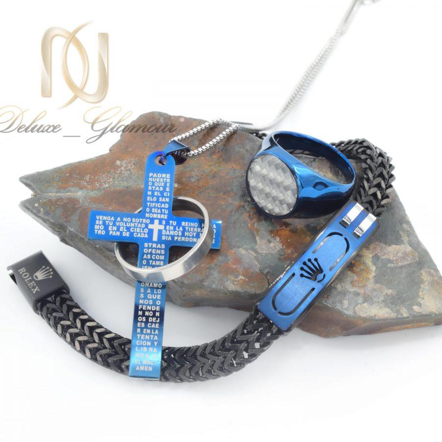 ست مردانه استیل لوکس 2 | ست دستبند، انگشتر و گردنبند مردانه خاص ns-n688