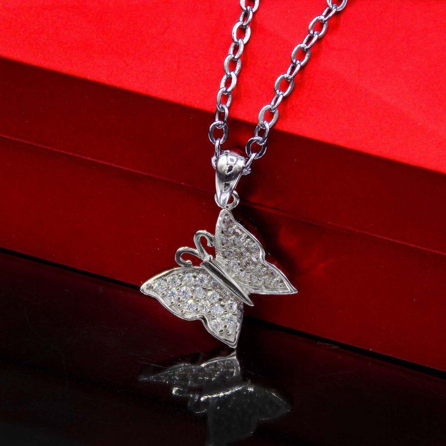 گردنبند دخترانه ظریف نقره 925 طرح پروانه ma-n510