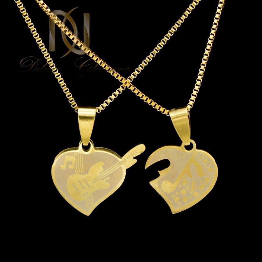 گردنبند ست استیل 3 | گردنبند ست پازلی استیل طرح قلب و گیتار nw-n695