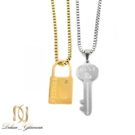 گردنبند ست دو تکه استیل کلید و قفل NW-N687