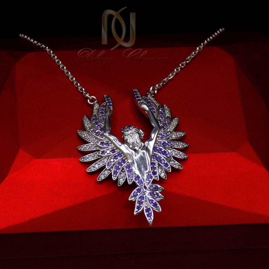 گردنبند فرشته نقره 925 خاص نگین دار ma n522 2 | پک کادویی گردنبند نقره و کیف پول pk-n01