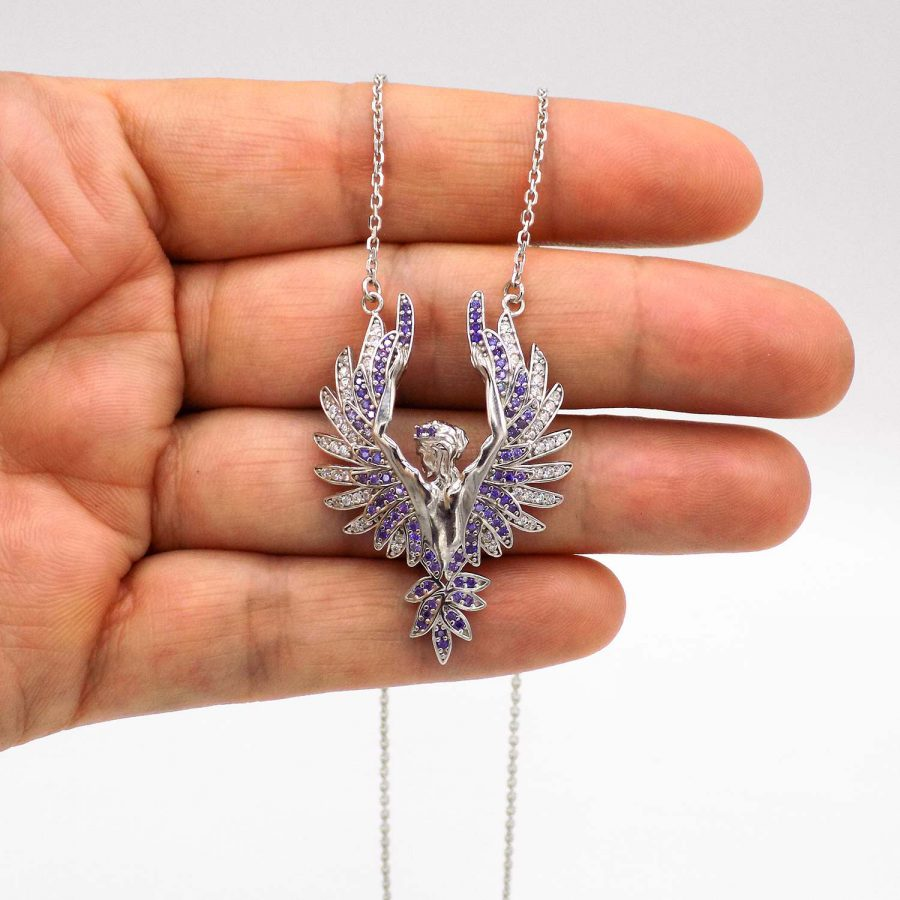 گردنبند فرشته نقره 925 خاص نگین دار ma n522 3 | پک کادویی گردنبند نقره و کیف پول pk-n01