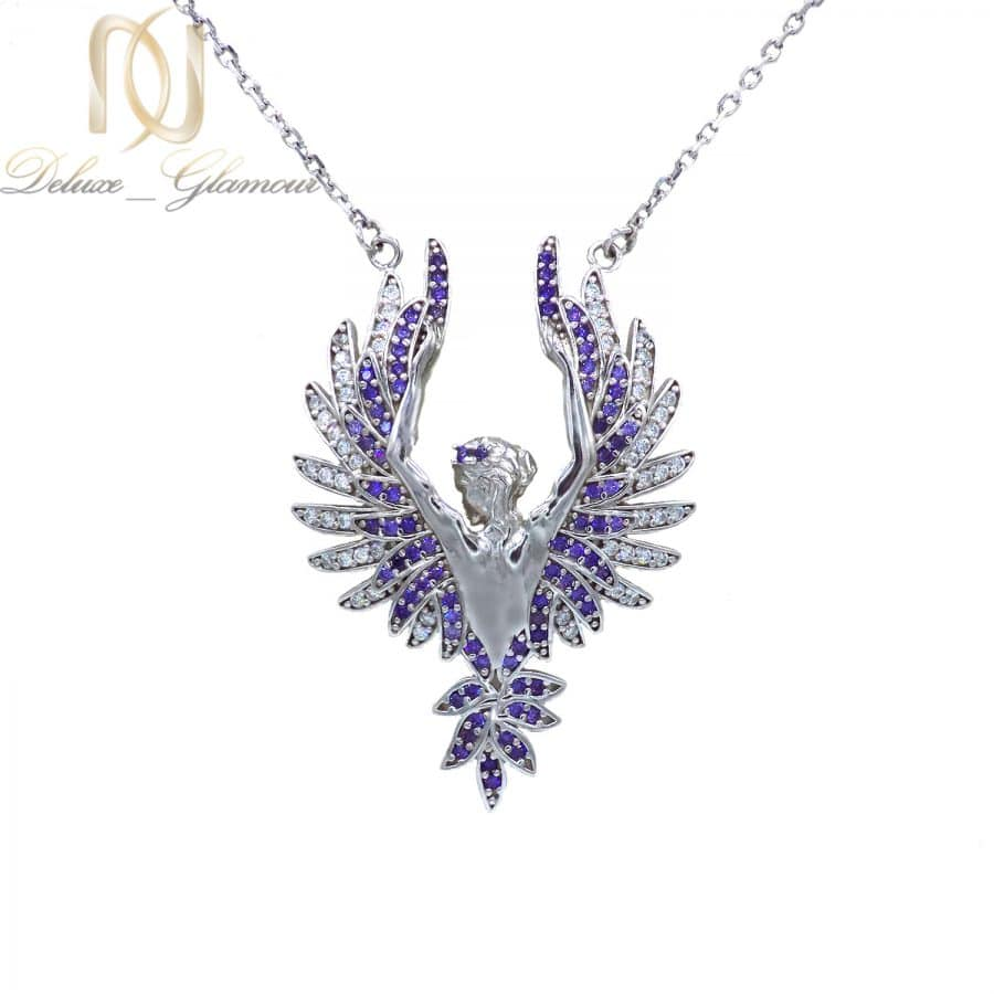 گردنبند فرشته نقره 925 خاص نگین دار ma n522 | پک کادویی گردنبند نقره و کیف پول pk-n01