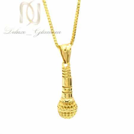 گردنبند طرح میکروفن طلایی استیل nw-n834
