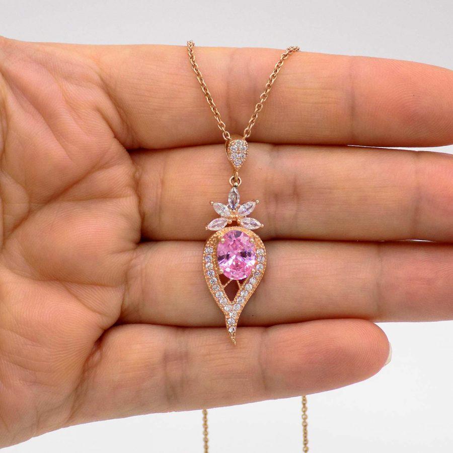 گردنبند نقره زنانه جواهری نگین صورتی ma-n518