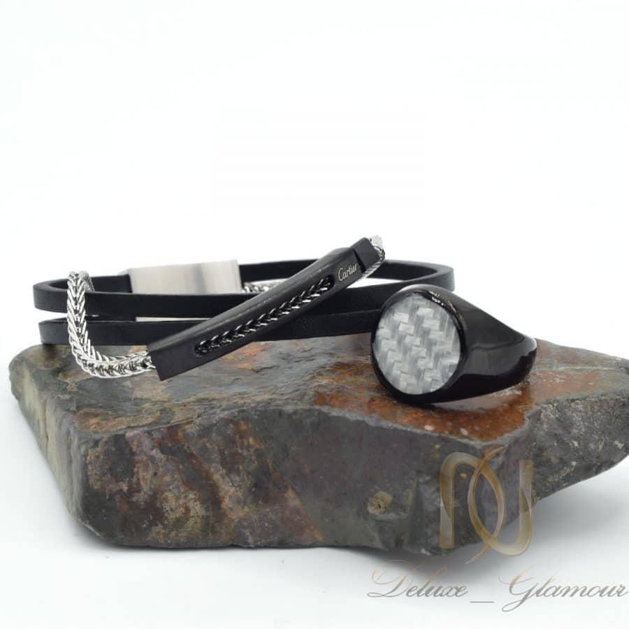 ست دستبند و انگشتر مردانه طرح کارتیر ns-n684