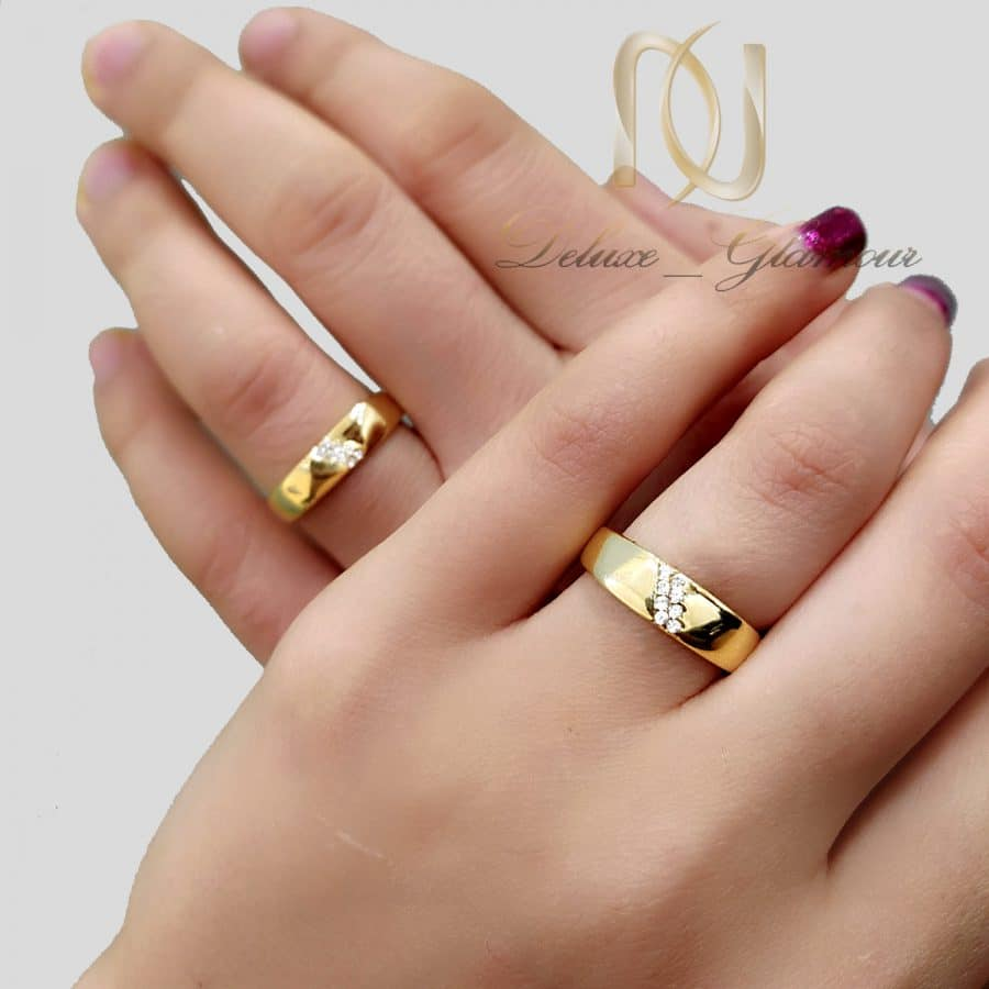 حلقه ست نقره نامزدی طرح طلا rg-n602
