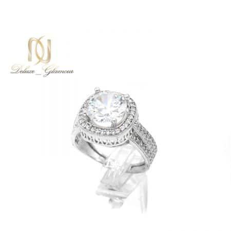 انگشتر زنانه نقره اصل طرح طلا سفید rg-n627