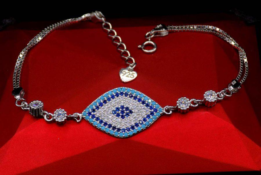 دستبند دخترانه نقره شیک نگین دار ma n532 3 | دستبند دخترانه نقره شیک نگین دار ma-n532