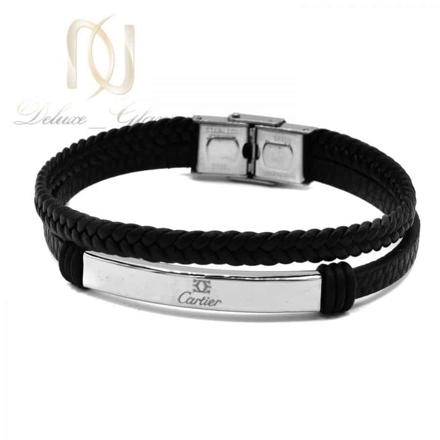 دستبند مردانه 1 1   دستبند چرم طرح کارتیر مردانه ds-n768