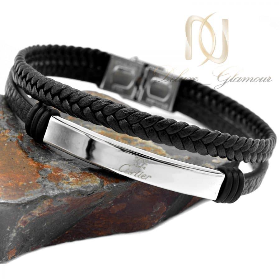 دستبند مردانه 2 1   دستبند چرم طرح کارتیر مردانه ds-n768