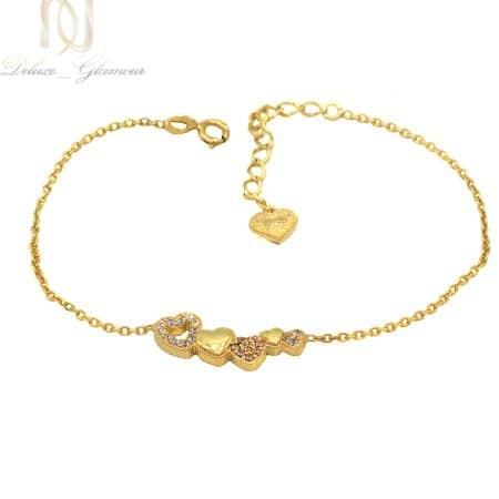 دستبند نقره دخترانه ظریف طرح قلب ma-n531