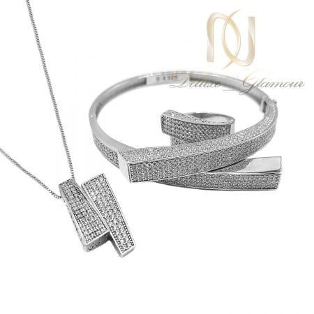 ست دستبند، گردنبند و انگشتر زنانه نقره ns-n696