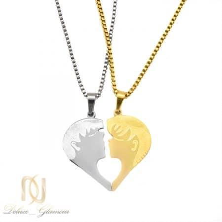 گردنبند ست پازلی استیل دو تکه قلب nw-n711