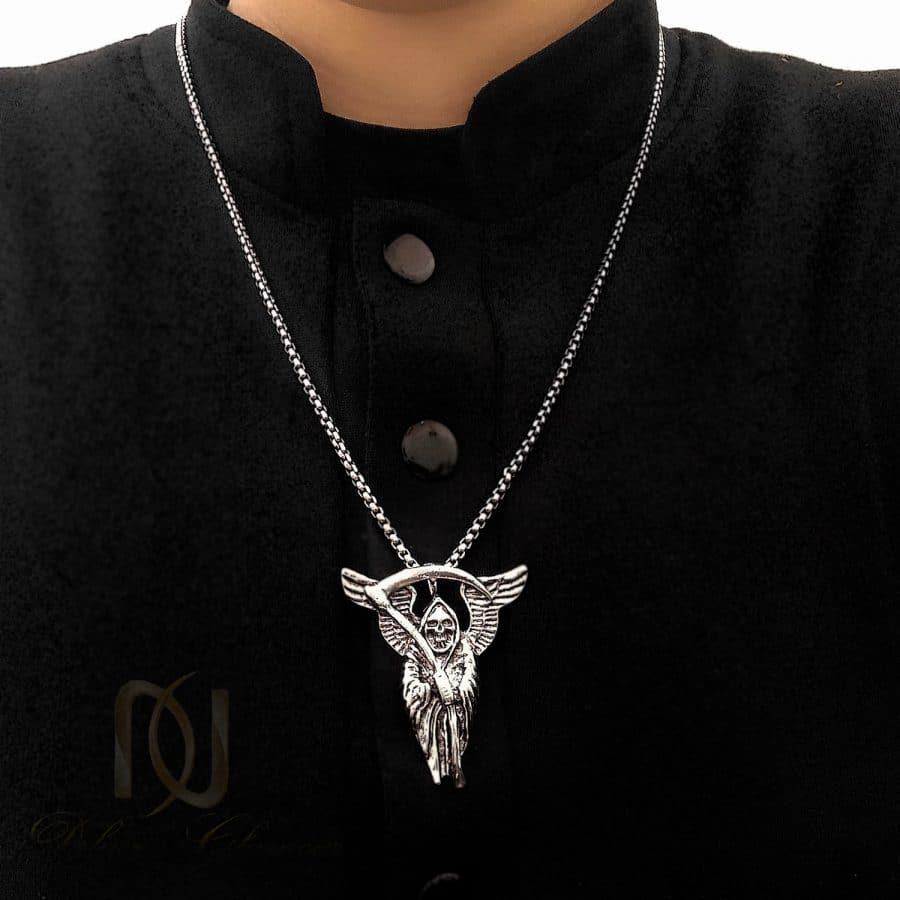 گردنبند مردانه 5   گردنبند اسپرت استیل طرح فرشته مرگ nw-n697