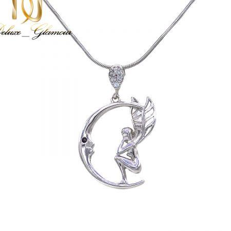 گردنبند نقره طرح فرشته و ماه دخترانه ma-n527