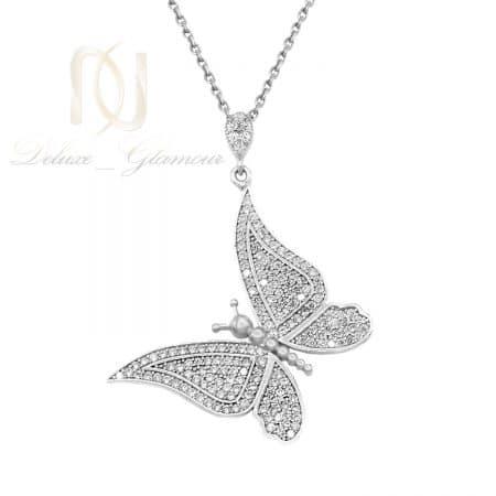 گردنبند نقره پروانه زنانه نگین دار nw-n707