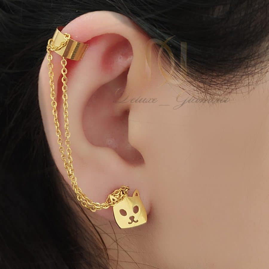 گوشواره زنجیری استیل طلایی کیتی er-n252