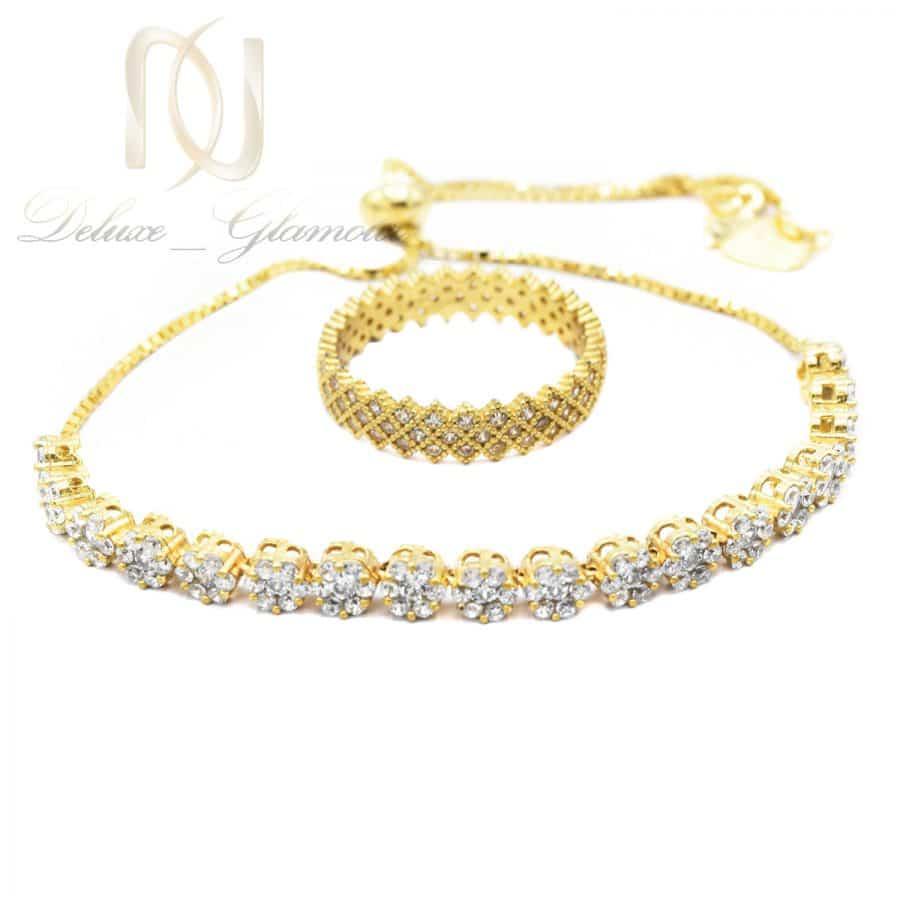 ست دستبند و انگشتر نقره طلایی ns-n692