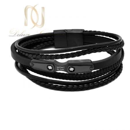 دستبند مردانه چرم مونت بلانک مشکی DS-N763