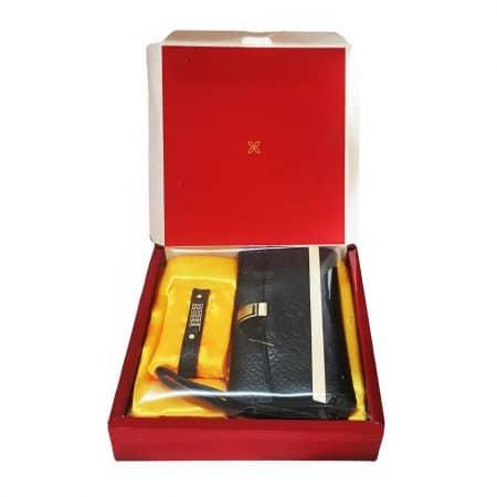 ست کیف پول و دستبند چرم طبیعی زنانه کد NL002