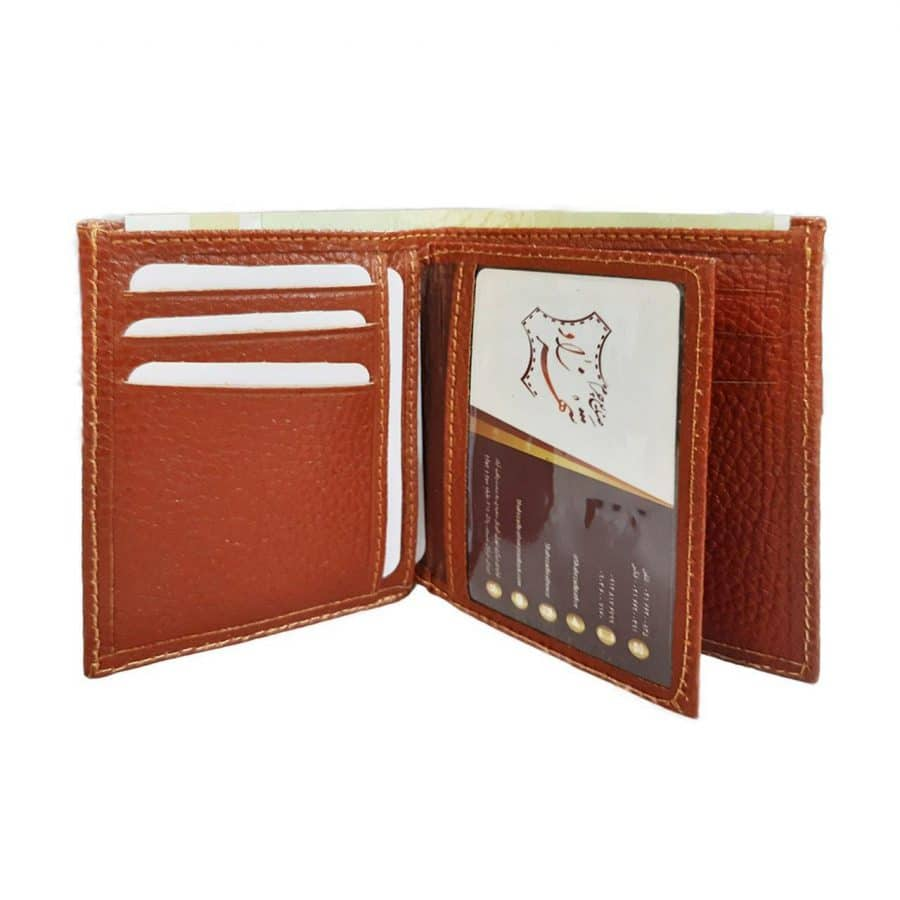 کیف پول چرم طبیعی مردانه جیبی همراه با جعبه چوبی کد NL003