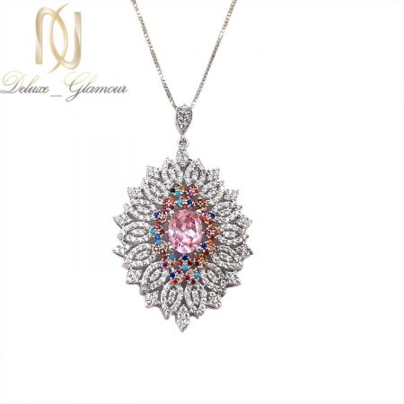 آویز گردنبند نقره جواهری زنانه نگین رنگی nw-n721