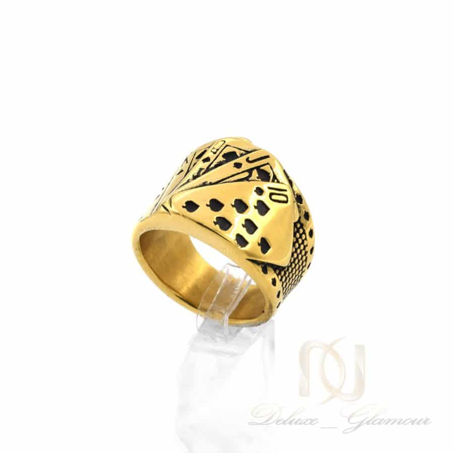 انگشتر مردانه 2   انگشتر طرح پوکر مردانه استیل طلایی rg-n635