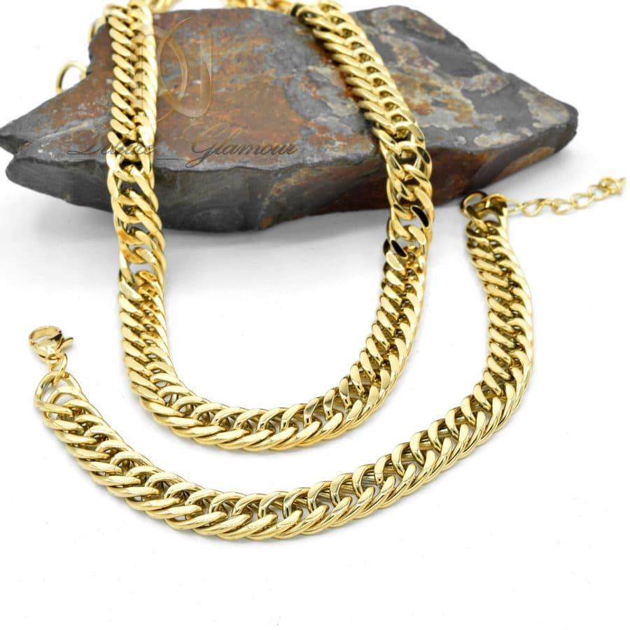 ست 3 | ست دستبند و گردنبند مردانه استیل ns-n070