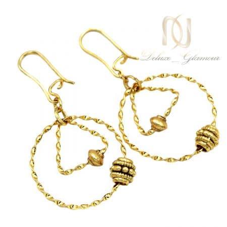 گوشواره برنجی حلقه ای طلایی زنانه er-n256