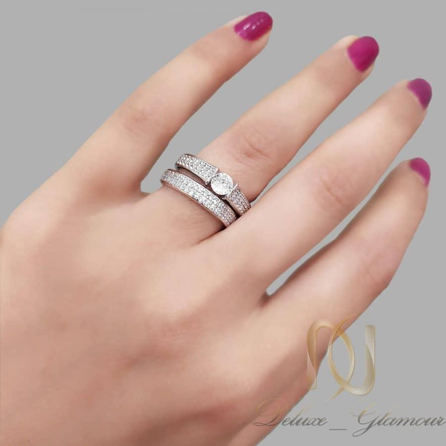 حلقه و پشت حلقه نقره زنانه نگین دار rg-n638